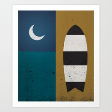 Board & Moon Art Print