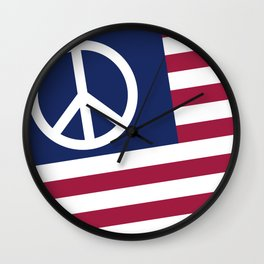 Peace and Love USA Flag Wall Clock