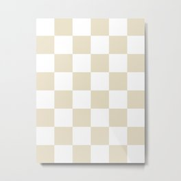 Large Checkered - White and Pearl Brown Metal Print
