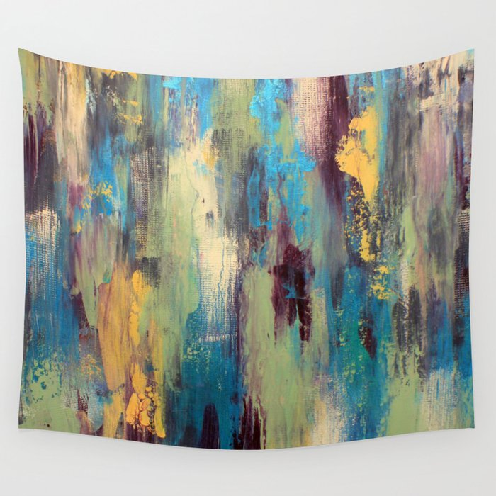 Palette Knife Paint Green Purple And Blue Wall Tapestry