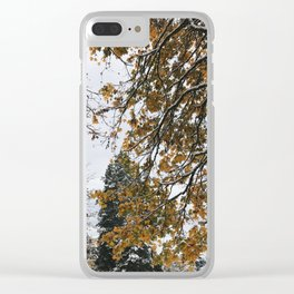 Snowy Leaves Clear iPhone Case
