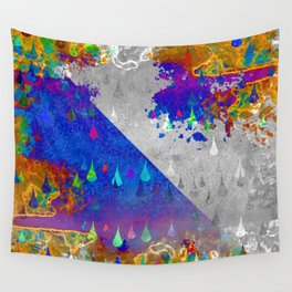 Abstract Colorful Rain Drops Design Wall Tapestry
