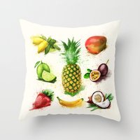 fruits Throw Pillows featuring fruits by Zazie-bulles