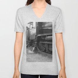 Old steam locomotive in the depot ZUG005CBx Le France black and white fine art photography by Ksavera Unisex V-Neck