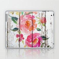 Pink Flowers On Old Wood Laptop & iPad Skin