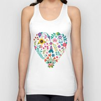 agnes Tank Tops featuring Floral Heart by Anna Deegan