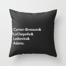 Cartier-Bresson & LeChepelle & Leibovits & Adams (The Photography Gods) Throw Pillow