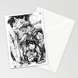Werewolf moon on Halloween Night Stationery Cards