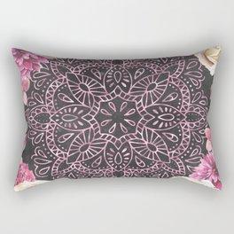 Mandala Night Rose Gold Garden Pink Black Yellow Rectangular Pillow