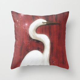 By the Water // Egret White Heron Bird Feather Wings Florida Red Stars Abstract Painting Nature Throw Pillow
