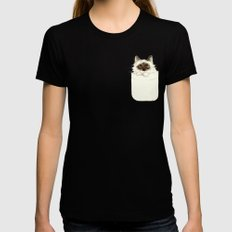 Puss in Pocket (B) Womens Fitted Tee Black SMALL