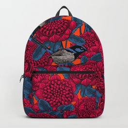 Red waratah and fairy wrens  Backpack