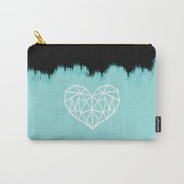 Geometric Heart on Light Blue Carry-All Pouch