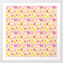 Cute Pink and Yellow Floral Pattern with Australian Native Bottlebrush Flowers Art Print