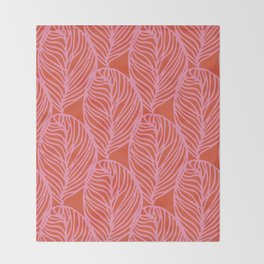 petaluma: pink leaf pattern Throw Blanket