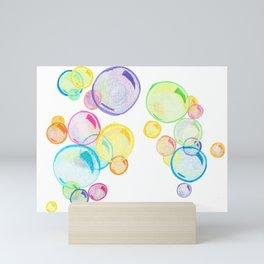 Rainbow Pastel Bubbles Floating Mini Art Print