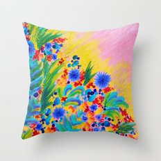 NATURAL ROMANCE in PINK - October Floral Garden Sweet Feminine Colorful Rainbow Flowers Painting Throw Pillow