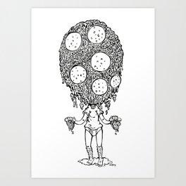 Melting pizza dude, Ink Art Print