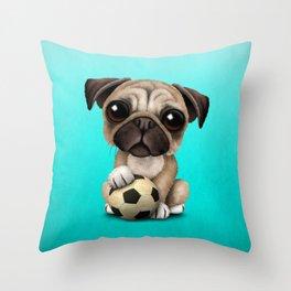 Cute Pug Puppy Dog With Football Soccer Ball Throw Pillow