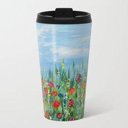 Summer Wildflowers, Landscape Art with Flowers Metal Travel Mug