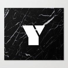 Black Marble - Alphabet Y Canvas Print