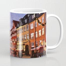 Digital Painting of Copenhagen's Nyhavn at Night Just after Sunset Coffee Mug