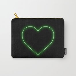 Neon Green Valentines Love Heart Carry-All Pouch