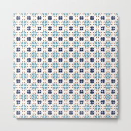 Talavera Floral Tiles Pattern Metal Print