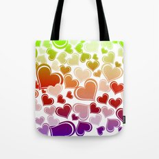 Whimsical Bright Hearts Tote Bag