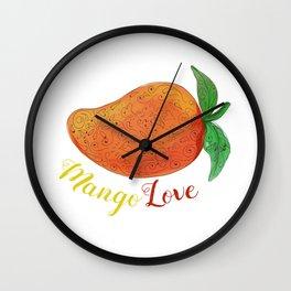 Mango Love Fruit Watercolor Mandala Wall Clock