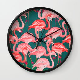 flamingo tropical Wall Clock