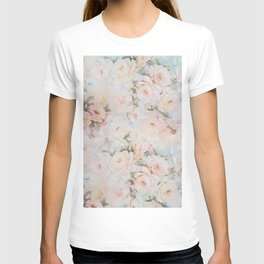 Vintage romantic blush pink ivory elegant rose floral T-shirt