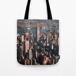 Empire State Building seen from a plane Tote Bag