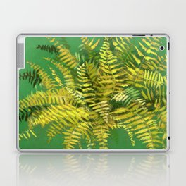 Golden Fern, Floral Painting Green Yellow  Laptop & iPad Skin