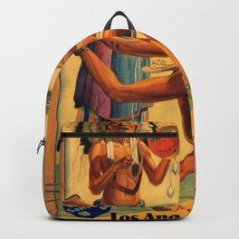 1932 Olympic Games - Los Angeles, CA - Native American - Santa Fe Railroad Vintage Poster Backpack