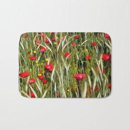 Red Poppies In A Cornfield Bath Mat