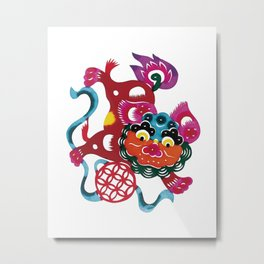 Chinese Paper Cutting Chinoiserie Watercolor Design Metal Print