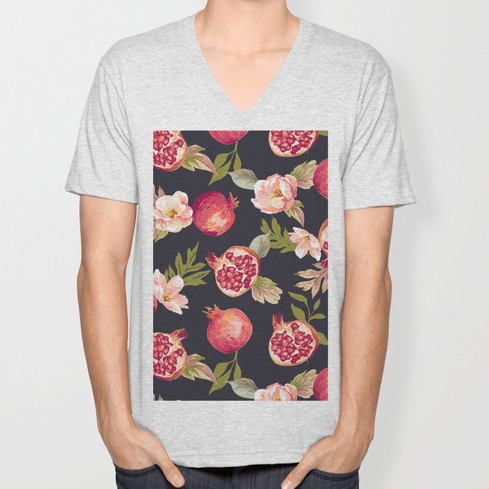 Pomegranate patterns - floral roses fruit nature elegant pattern Unisex V-Neck
