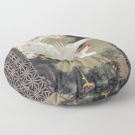 Jakuchu Phoenix with Hemp Pattern Background Floor Pillow