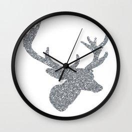 Silver Deer Wall Clock