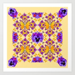 PURPLE PANSIES & GOLD  BUTTERFLIES KALEIDOSCOPE CREAM Art Print
