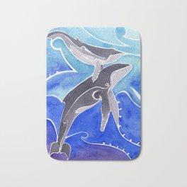 Polynesian humpback whale and calf Bath Mat