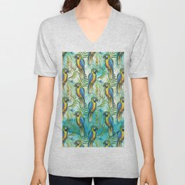 Watercolor blue yellow tropical parrot bird floral Unisex V-Neck