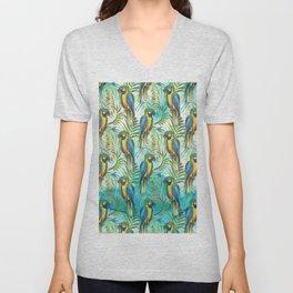 Watercolor blue yellow tropical parrot bird floral Unisex V-Neck