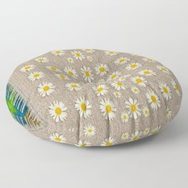 Star fall of fantasy flowers on pearl lace Floor Pillow