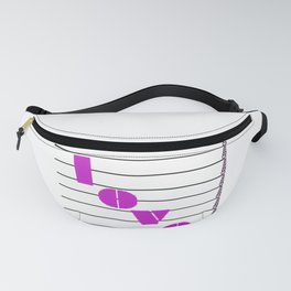 A love on many levels word pun in magenta notes descending black and white staff Fanny Pack