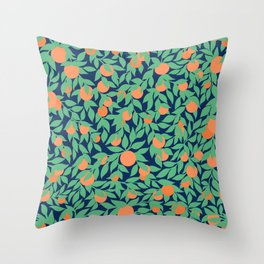 Oranges and Leaves Pattern - Navy Blue Throw Pillow