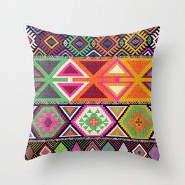 Aztec Artisan Tribal Bright Throw Pillow