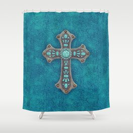 Turquoise Rustic Cross Shower Curtain