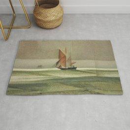 Ostsee-Schoner Nautical - Maritime landscape painting by Lyonel Feininger Rug